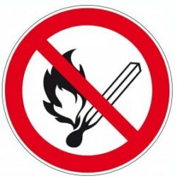 Sticker vuur, open licht en roken verboden