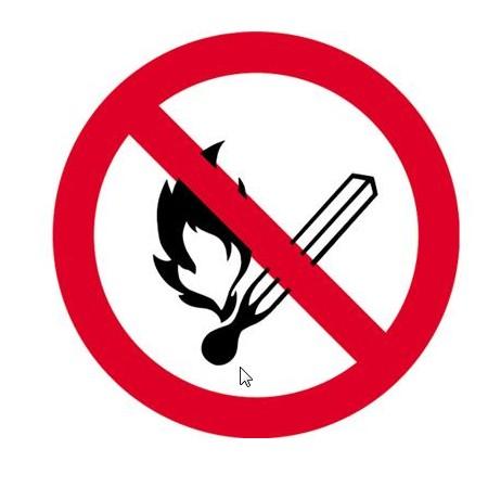 bord vuur open licht en roken verboden