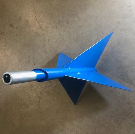 Blauwe kegel ronde buis